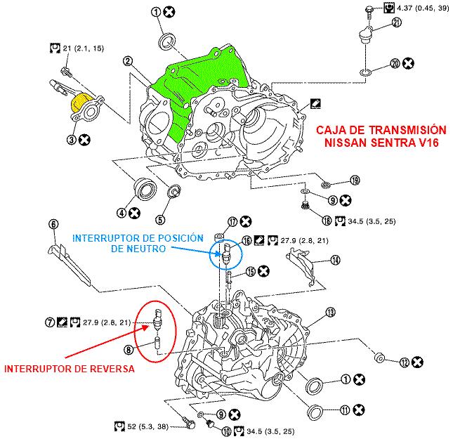 Caja De Transmisi 243 N Nissan Sentra Interruptor De Reversa