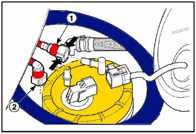 Remover conectores de mangueras de la bomba de gasolina